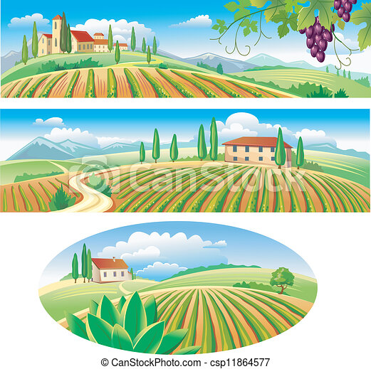 Banners with the agriculture landscape - csp11864577
