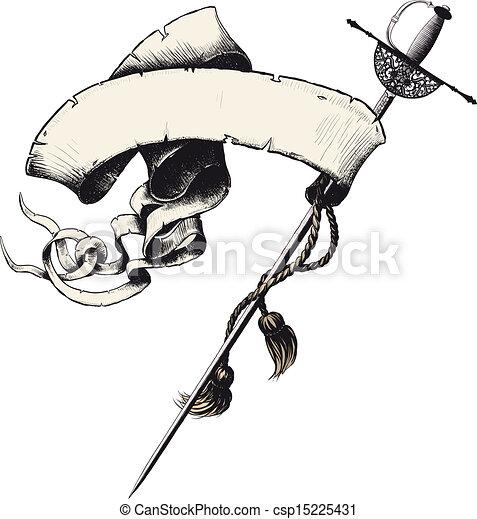 bannière, épée - csp15225431