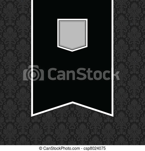 bannière, cadre, vecteur, arrière-plan noir - csp8024075