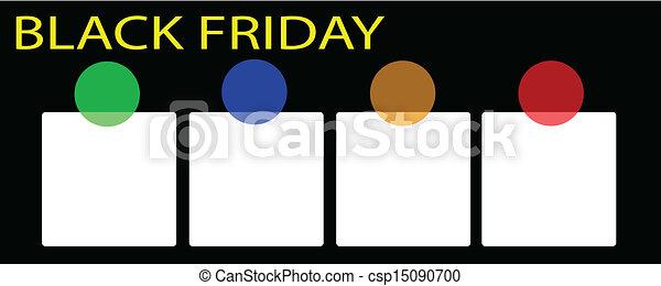 bannière, carrée, noir, vendredi, étiquette - csp15090700