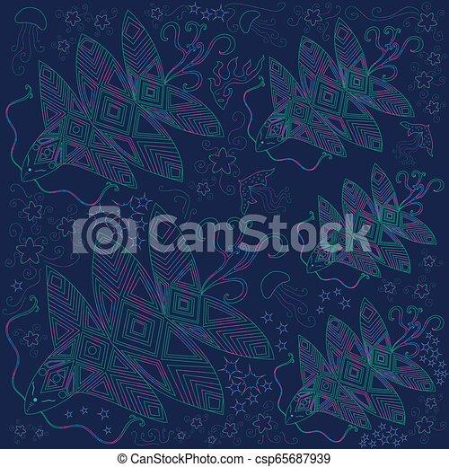 bannière, clair, illustration, océan, créature, fantastique, beau - csp65687939