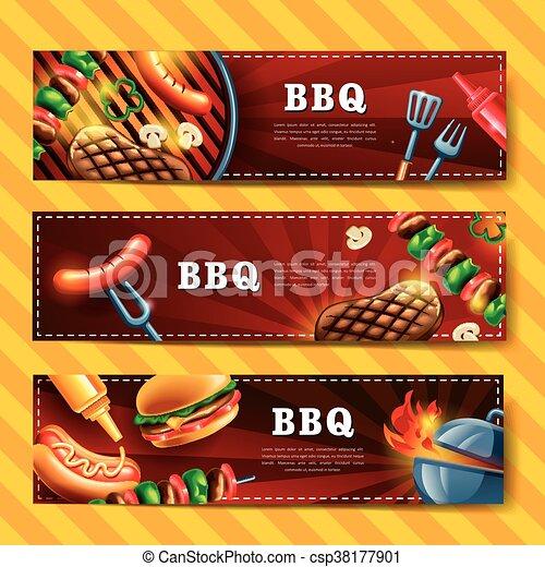 bannière, délicieux, barbecue - csp38177901