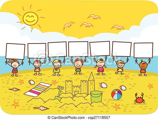 bannière, enfants, tenue - csp27118557