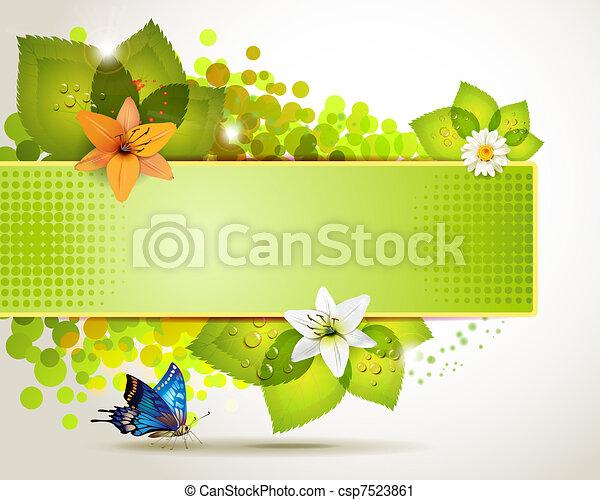 bannière, fleurs, conception - csp7523861