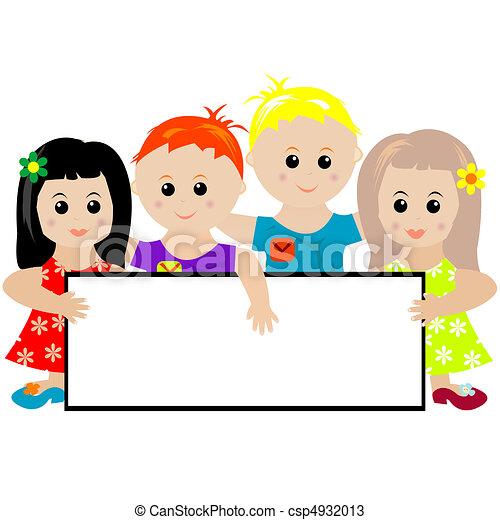 bannière, groupe, enfants, tenue - csp4932013