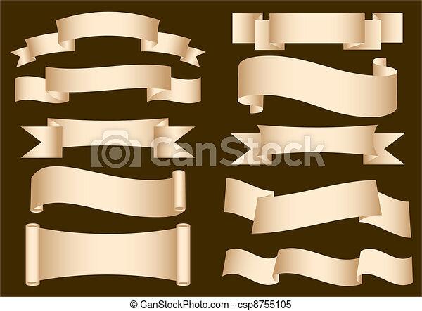 bannière, rouleau, ruban - csp8755105