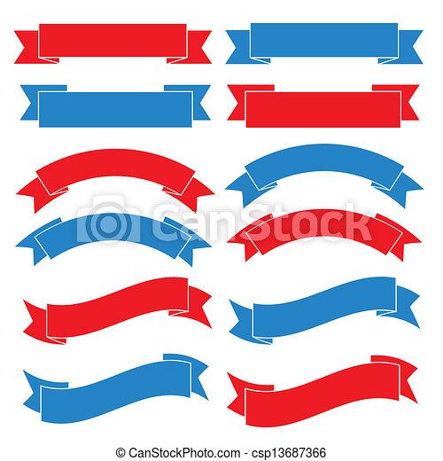 bannière ruban, ensemble, vieux, illustration - csp13687366