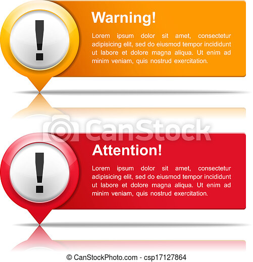 bannières, attention, avertissement - csp17127864