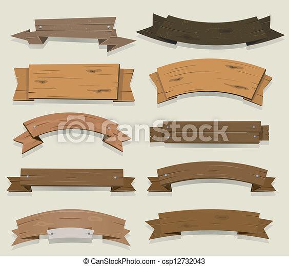 bannières, bois, rubans, dessin animé - csp12732043