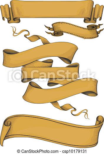 bannières, engravin, style, ruban - csp10179131