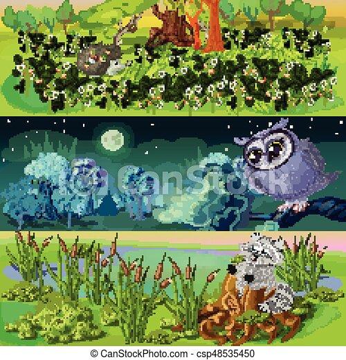bannières, ensemble, animaux, dessin animé - csp48535450