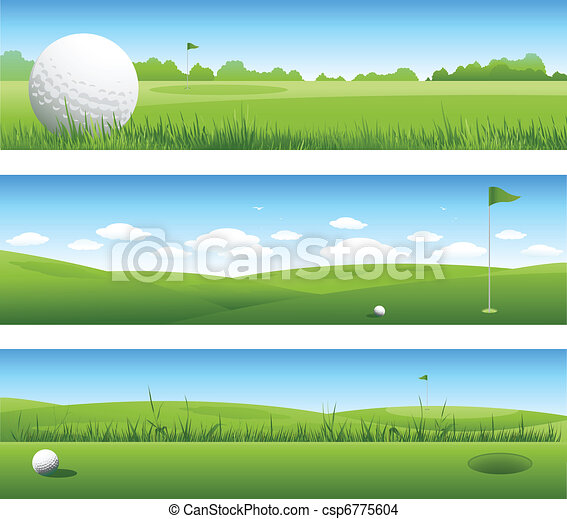 bannières, golf, fond - csp6775604