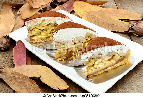 Banoffee pie on wooden table - csp35130892
