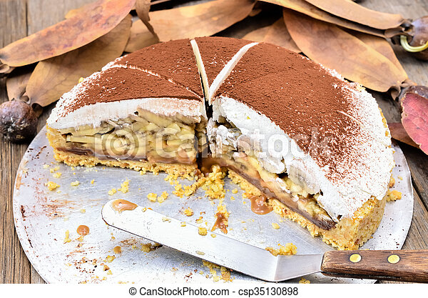 Banoffee pie on wooden table - csp35130898