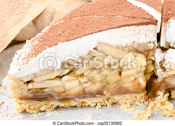 Banoffee pie on wooden table - csp35130902