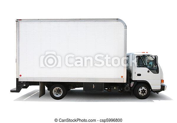 banor, klippning, isolerat, leverans, bakgrund, lastbil, included., vit - csp5996800