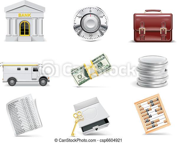 banque, set., vecteur, ligne, icône - csp6604921