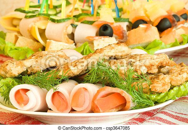 Banquet. Canape, chops and balyk - csp3647085