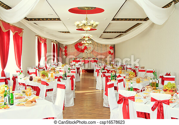 banquet hall or other function facility set for fine dining - csp16578623