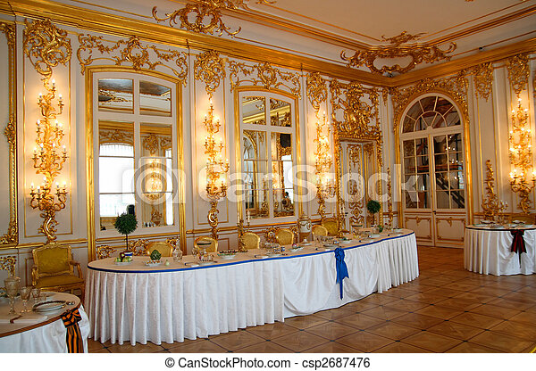 banquet table in dining-hall - csp2687476