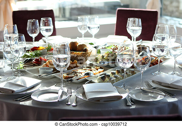 Banquet table in restaurant  - csp10039712