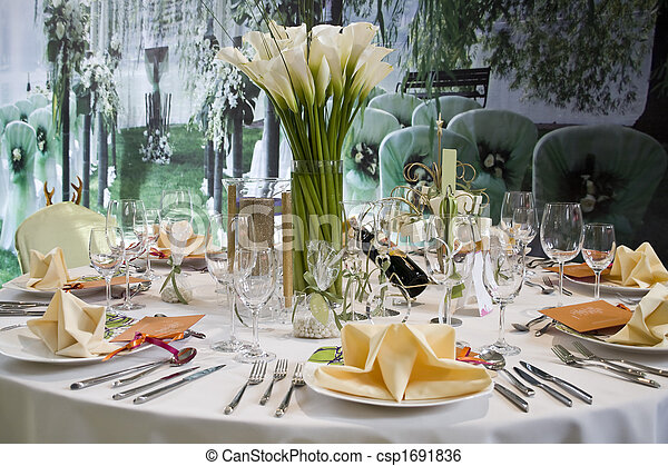 banquet table - csp1691836 & Banquet table setting for wedding in china... stock image - Search ...