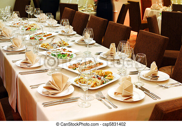 Banquet table with snacks - csp5831402
