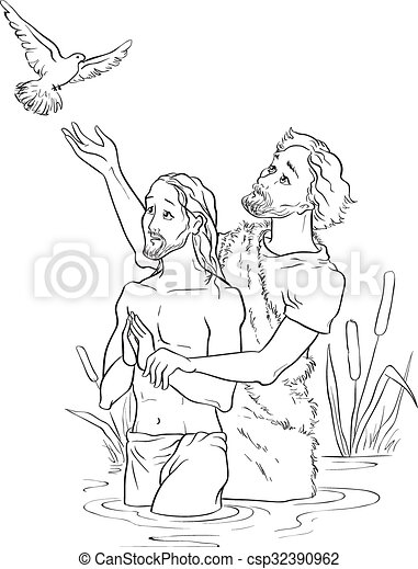 baptism of jesus christ outlinedeps vector