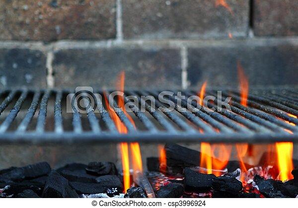 Bar b cue barbecue fire BBQ coal fire iron grill - csp3996924