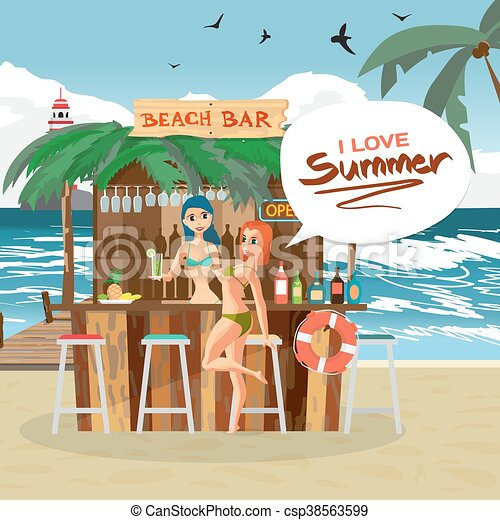 Bar Bungalows With Bartender And Visitor Woman On The Beach Ocean Coast Vector Flat Cartoon