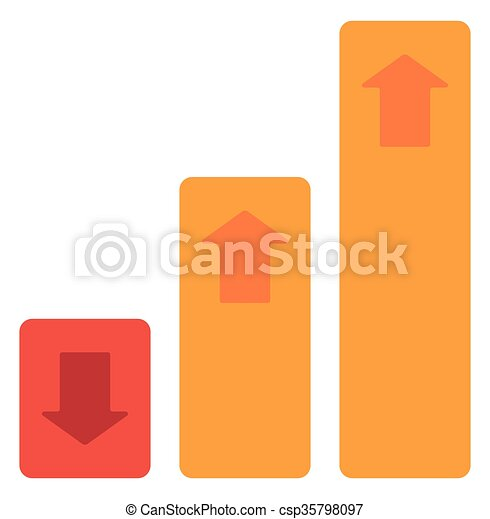 Bar chart with up and down arrows - csp35798097