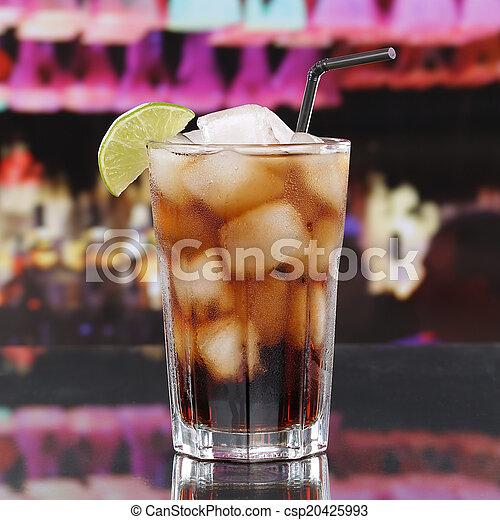 Bar, cocktail, kuba, getränk, libre, kalte , oder, kolabaum ...