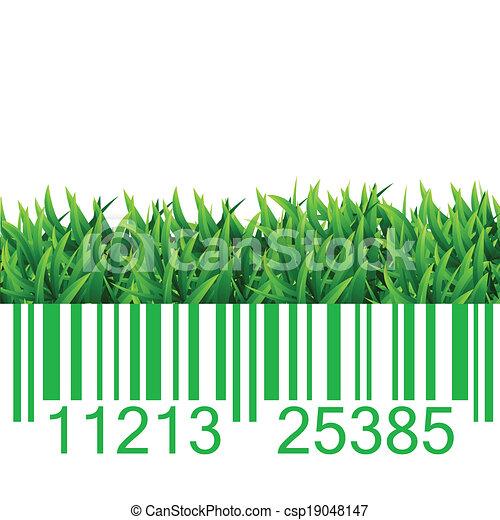 Bar code grass illustration - csp19048147
