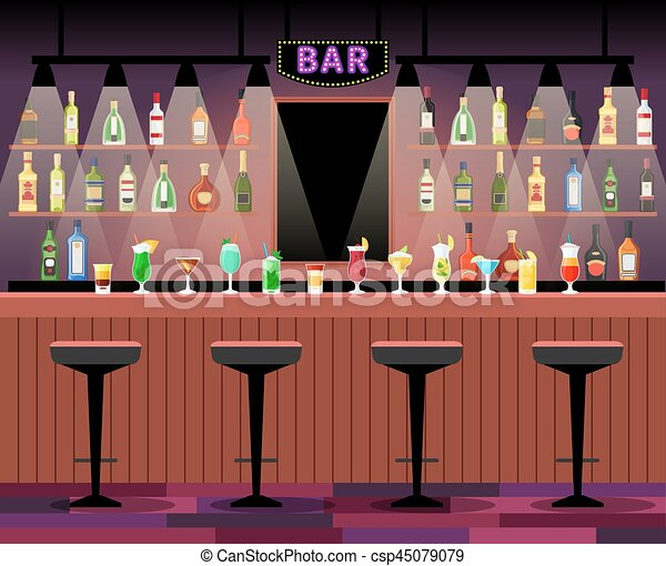 Bar Counter With Alcohol Drinks Bar Counter With Stools