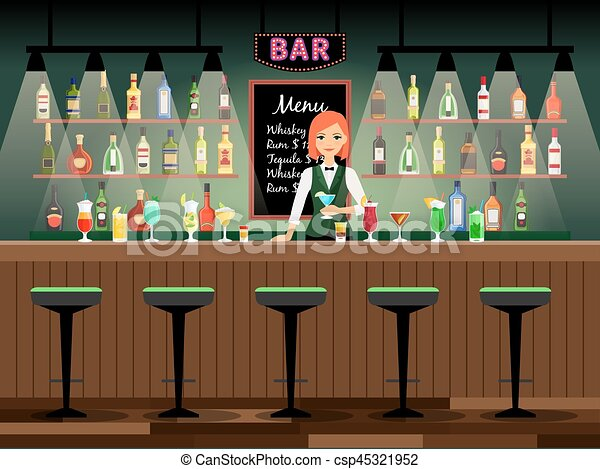 Bar Counter With Bartender Lady And Wine Bottles On The