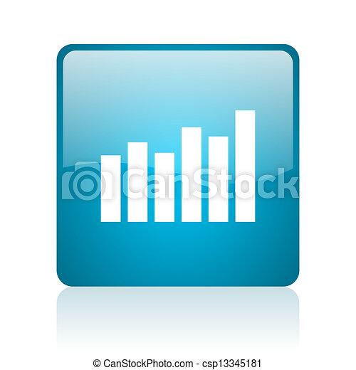bar graph blue square web glossy icon - csp13345181