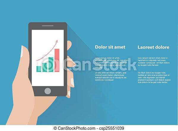 bar, holing, ekran, wykres, ręka, telefon, podwyższając, mądry - csp25551039