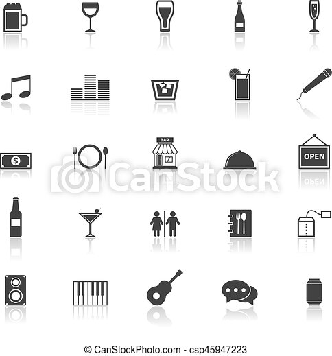 Bar icons with reflect on white background - csp45947223