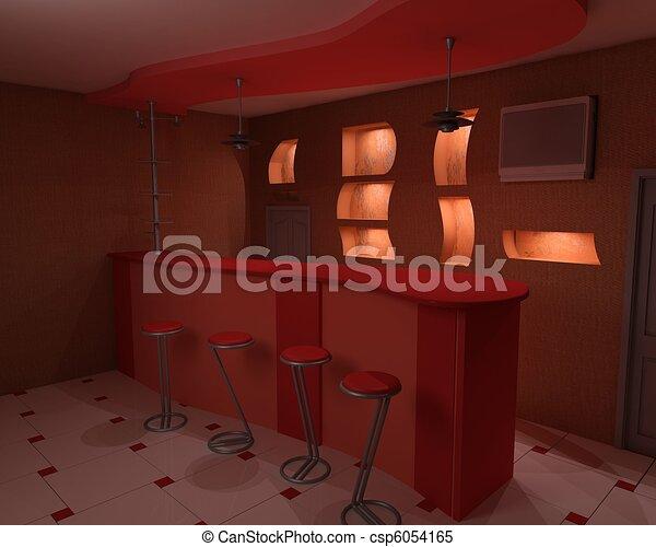 bar is in darkly red tones - csp6054165