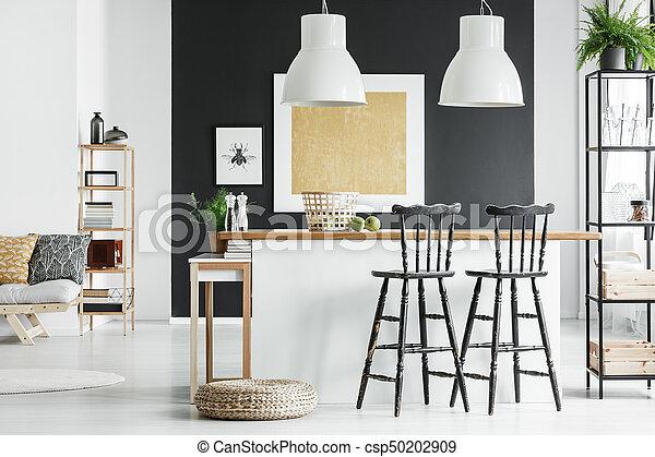 Verbazingwekkend Bar, kamer, krukken. Bar, kamer, goud, countertop, muur, krukken BB-11