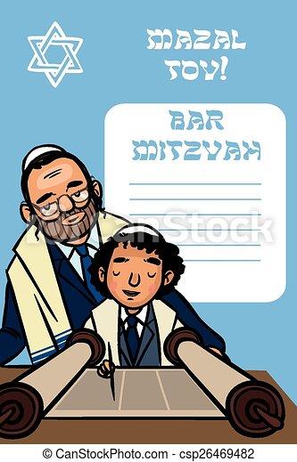 Bar Mitzvah Invitation Card.  Vector illustration - csp26469482