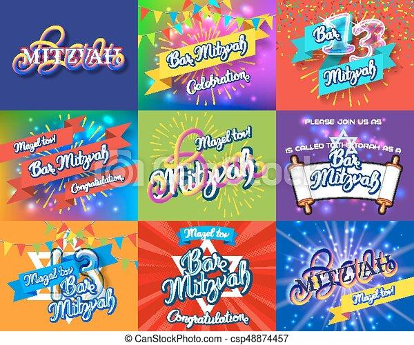 Bar Mitzvah invitation cards bundle - csp48874457