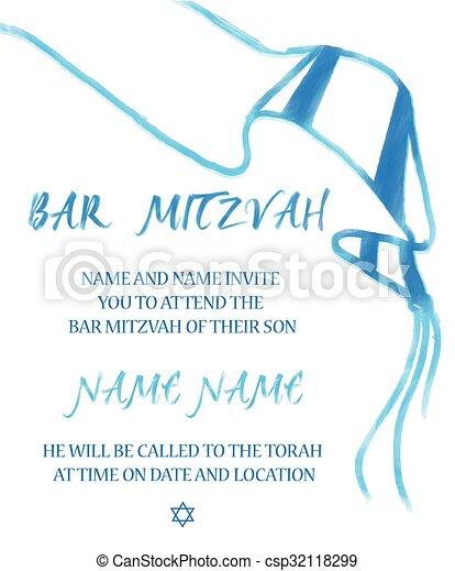 Bar Mitzvah Jewish Invitation Card - csp32118299