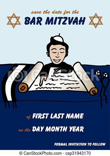 Bar Mitzvah Save the Date Card - csp31943170