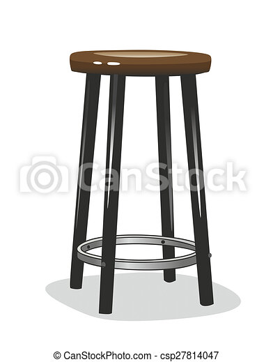 Simplified Illustration Of A Bar Stool With Wooden Seat
