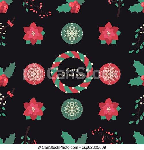 Fondos sin costura con flores de Navidad y baubles - csp62825809