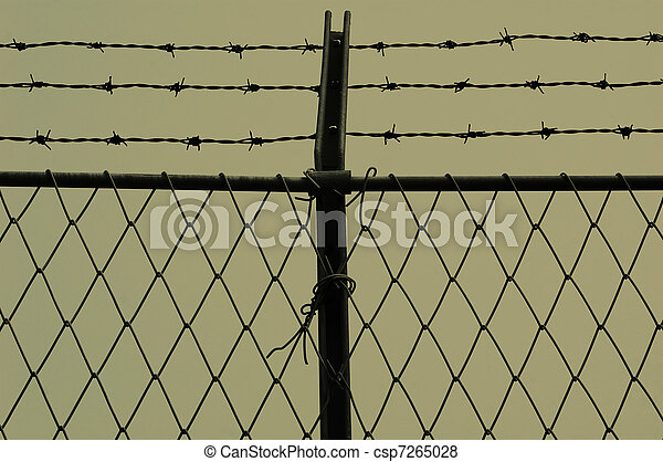 Barb wire and fence - csp7265028