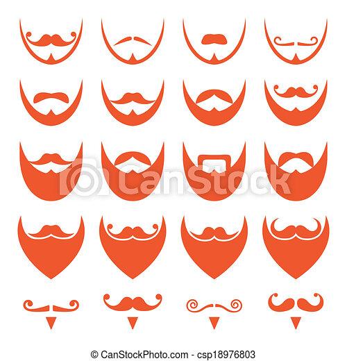 barba, bigode, gengibre, ícones - csp18976803