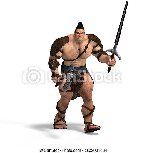 barbaar, bijl, zwaard, gespierd, vechten - csp2001884