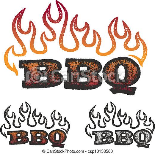 BBQ gráficos con llamas - csp10153580